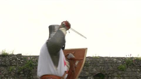 medieval crusader fighting 05 Stock Video Footage