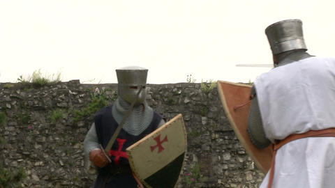 medieval crusader fighting 05 Footage