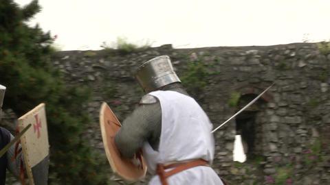 medieval crusader fighting 07 Stock Video Footage