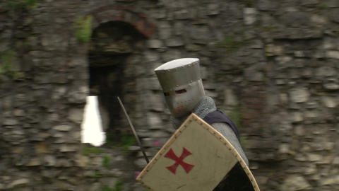 medieval crusader fighting 09 Stock Video Footage