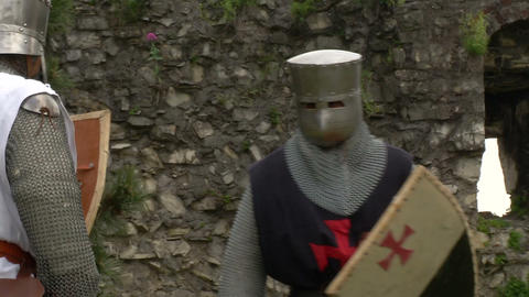medieval crusader fighting 09 Stock Video Footage