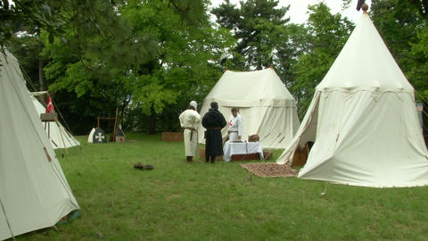 medieval encampment 11 e Stock Video Footage
