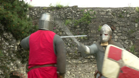 medieval fighting slow motion red blu 03 Stock Video Footage