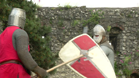 medieval fighting slow motion red blu 03 Footage