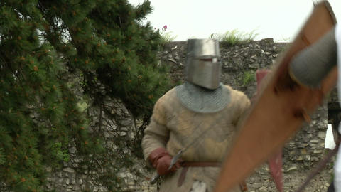 medieval fighting slow motion white brown 01 Stock Video Footage
