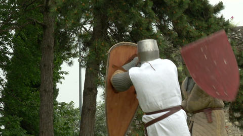 medieval fighting slow motion white brown 03 Stock Video Footage