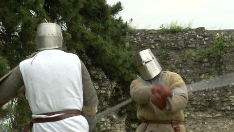 medieval fighting slow motion white brown 05 Stock Video Footage