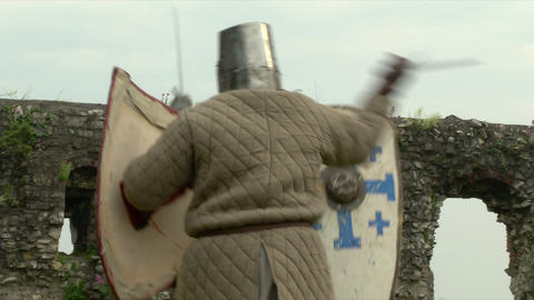 medieval fighting slow motion white brown 07 Stock Video Footage