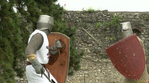 medieval fighting slow motion white brown 09 Stock Video Footage