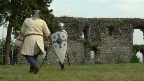 medieval fighting slow motion white brown 12 Stock Video Footage