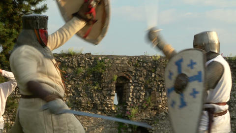 medieval fighting slow motion white brown 14 Stock Video Footage