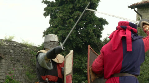 medieval fighting slow motion white red blu 02 Stock Video Footage