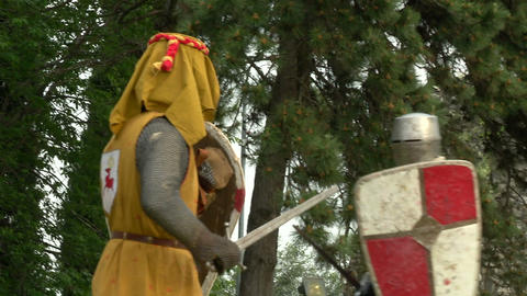 medieval fighting slow motion yellow red blu 01 Stock Video Footage
