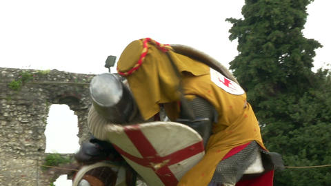 medieval fighting slow motion yellow red blu 03 Stock Video Footage