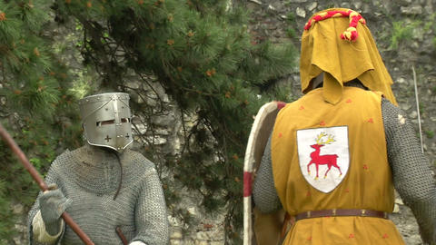 medieval fighting slow motion yellow steel 02 Stock Video Footage