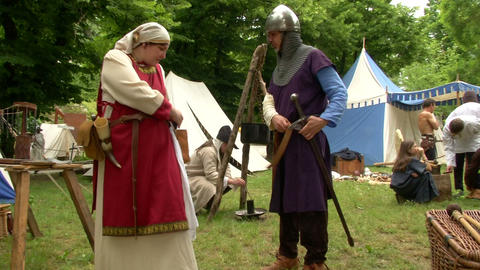 medieval village 12 e Stock Video Footage