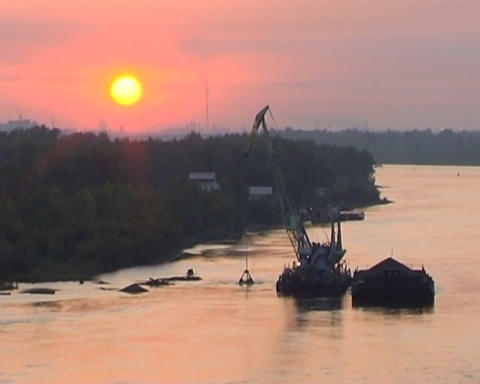 Excavator on river Footage