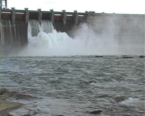 Electrical station on the river Stock Video Footage