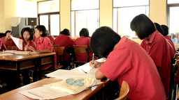 Asian Secondary School Students Studying in a Rura Footage