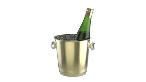 Ice Bucket With Bottle Of Wine stock footage