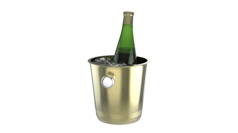Ice bucket with bottle of wine Stock Video Footage