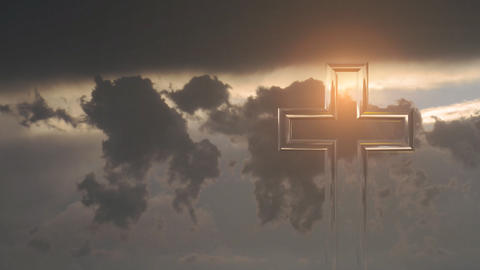 Christian cross on a background of clouds Stock Video Footage