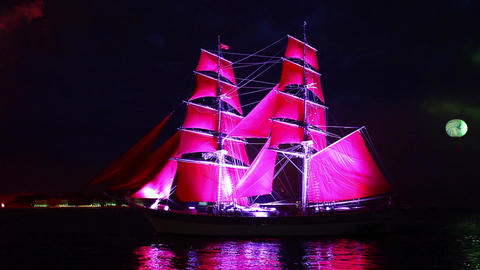 Sailing ship and fireworks Stock Video Footage