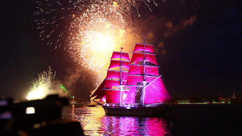 Sailing ship and fireworks Footage