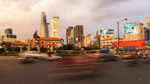 Ho Chi Minh City Skyline from Benh Thanh Market Stock Video Footage