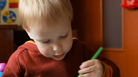 Child Learns To Draw stock footage
