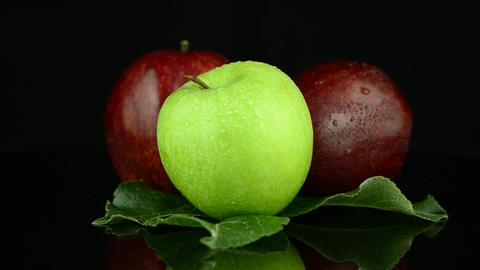 Apples with water drops Footage