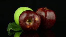 Apples with water drops Stock Video Footage
