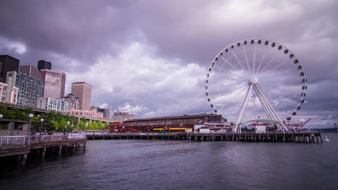 Ferris Wheel on a Cloudy Afternoon in Seattle Stock Video Footage