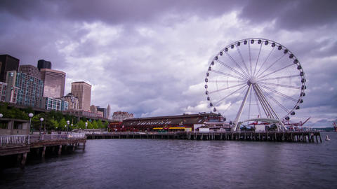 Ferris Wheel on a Cloudy Afternoon in Seattle Footage