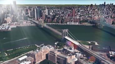 aerial view of New york bridge & sunlight,spectacular... Stock Video Footage