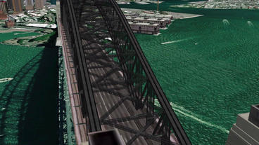 aerial flying through the bridge,spectacular city landscape Stock Video Footage