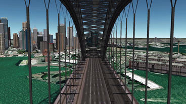 aerial flying through the bridge,spectacular city landscape Animation