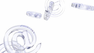 transparent glass 3D @ symbol,email Animation