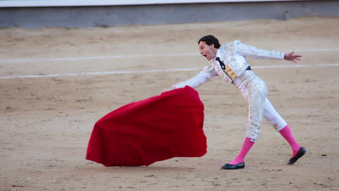 Work bullfighter. Emotions close-up. Slow motion Live Action
