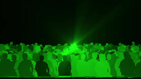 cheering crowd,dance people & dazzling green music rays light at concert Animation
