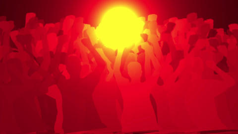 cheering crowd face to brilliant sun,revolution people... Stock Video Footage