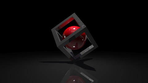 Red ball in a cube. abstract rotation Animation