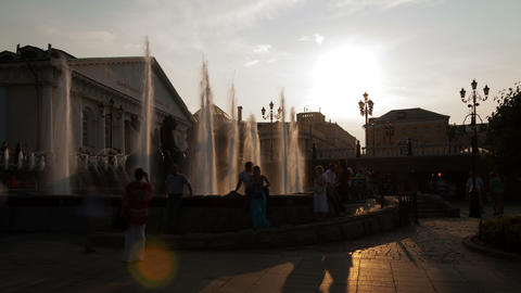Fountain on Manezh Square in Moscow 4K, Russia Stock Video Footage
