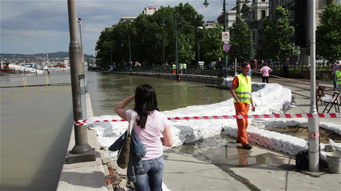 2013 Flood Budapest Hungary 6 Stock Video Footage