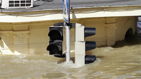 2013 Flood Budapest Hungary 16 traffic lights Stock Video Footage