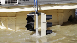 2013 Flood Budapest Hungary 16 traffic lights Stock Video Footage