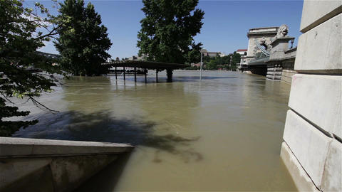 2013 Flood Budapest Hungary 28 Chain Bridge stock footage