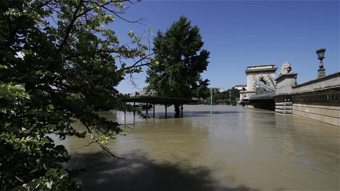 2013 Flood Budapest Hungary 30 chain bridge Stock Video Footage
