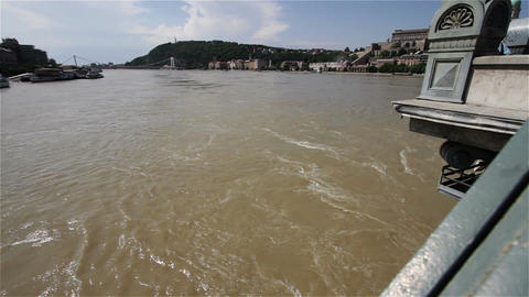 2013 Flood Budapest Hungary 32 from chain bridge Stock Video Footage