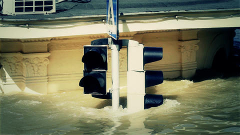2013 Flood Budapest Hungary 38 traffic lights Stock Video Footage